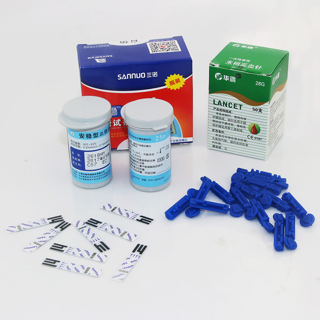 New Test Paper 50 Pcs test strips + 50 Pcs lancets needles for Glucometer Sannuo AW Blood Glucose Meter Household Buy now