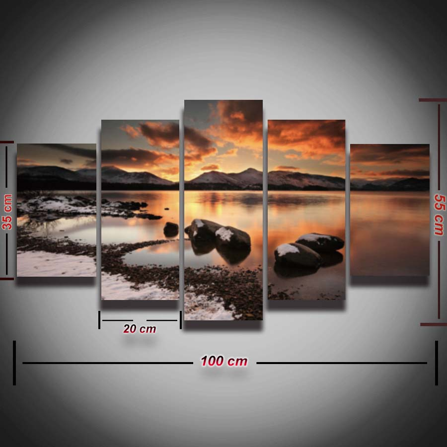 Printed-Seascape-picture-canvas-painting-sea-waves-beach-rock-sunset-landscape-5-piece-wall-art-room