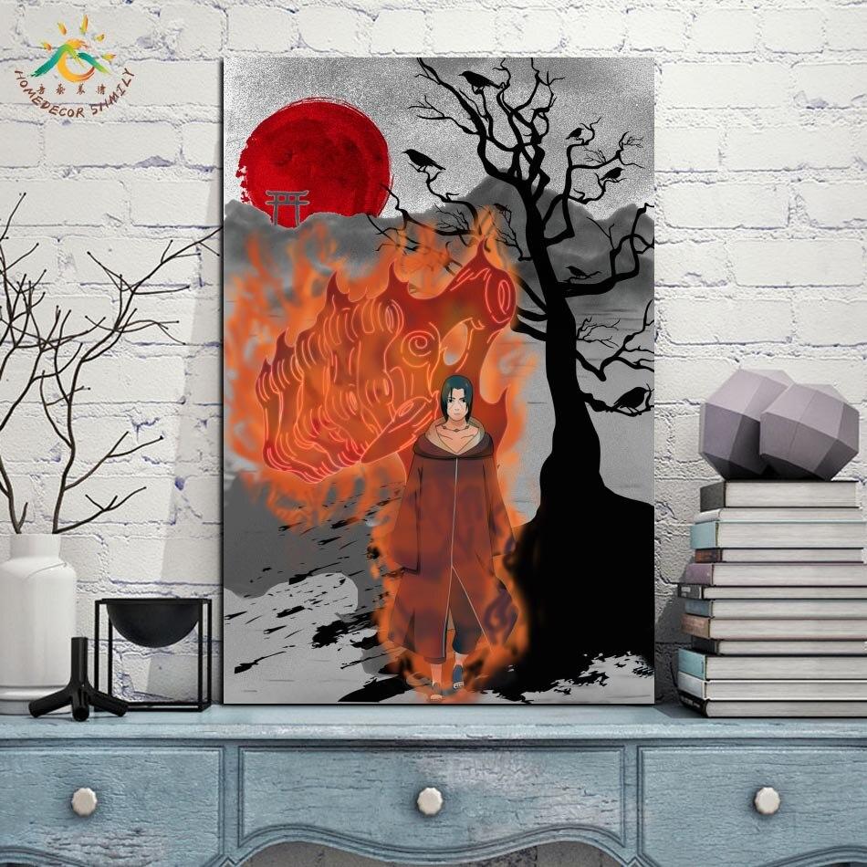 Лучший!  Огонь Итачи Учиха Аниме Япония Wall Art Отпечатки На Холсте Живопись Рамка Свиток Живопись Висит