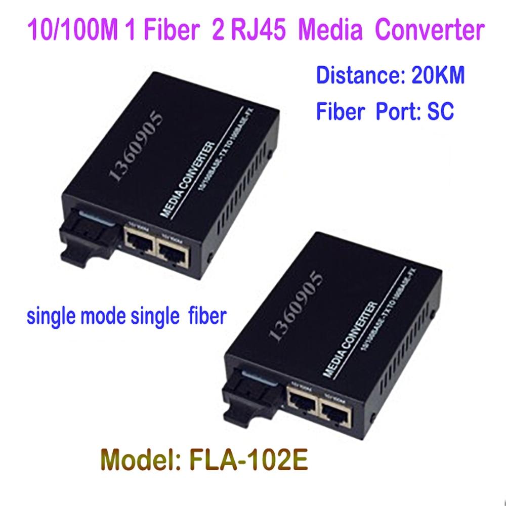 1 Pair Fiber Optical Media Converter 10/100Mbps Single-mode Single Fiber 1CH Fiber 2ch RJ45 Ethernet Port  20KM  DC5V Power  new single fiber single mode optical transceiver 10 100m 1000mbps sc port 20km 2ch fiber 8ch rj45 fiber optical media converter