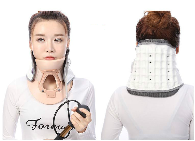 2017 cervical traction apparatus latest inflatable support fixed TuoHu neck with neck stretching his neck medical neck support orthosis adjustable cervical collar device fixed traction braces vertebra rehabilitation head protection