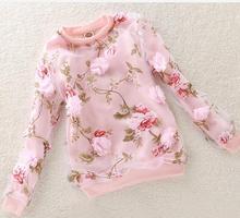 2017 Enfants Clothing à manches longues Fille T-shirt 3D Fleurs Organza T-Shirts Pour Filles Sweats Enfants Top Tee Enfants Clothing