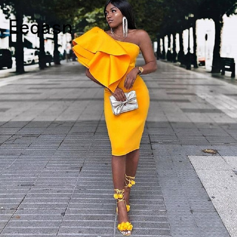 Short Cocktail Dresses 2018 For Women Wear One Shoulder Knee Length Sexy African Party Prom Gowns Robe Cocktail Custom(China)