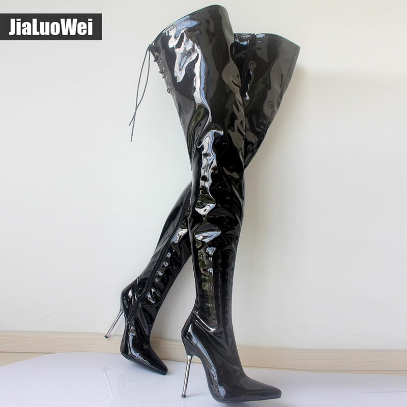 jialuowei Extreme High Heel appr.12CM Heel Pointed Toe Sexy Patent Leather Stiletto Metal Heel Sexy Fetish Zip Crotch Long Boots new extreme high heel 20cm heel pointed toe sexy patent leather heel needle metallic sexy fetish inseam boots a 027