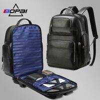 BOPAI Роскошные Натуральная кожа рюкзак для Для мужчин Для женщин путешествия черный рюкзак Топ Слои из коровьей кожи Для мужчин Бизнес ноутб