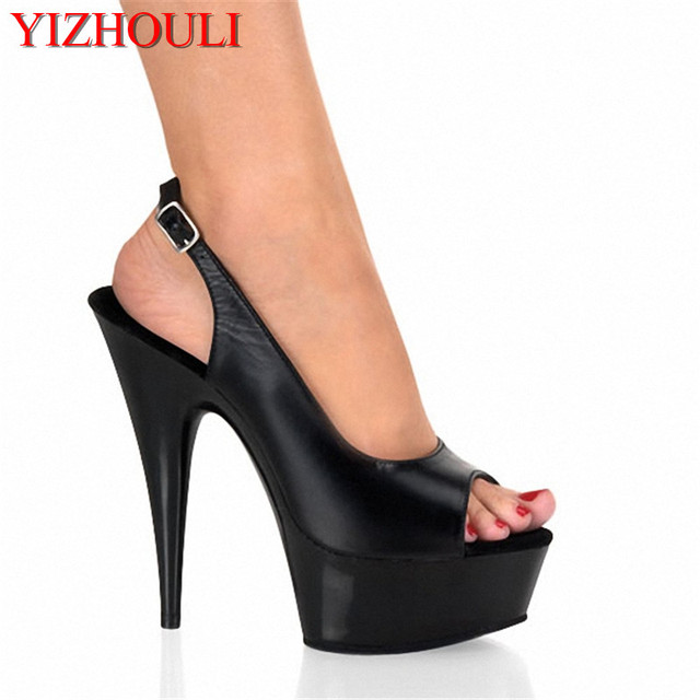 cb445d1963d0 15cm Sexy High-Heeled Shoes Formal Dress Shoes Open Toe Sandals Sling Peep-Toe  Platform Sandals With 5 3 4 Inch Stiletto Heel