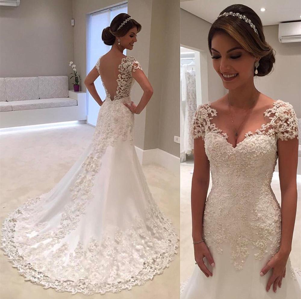 2021 New Illusion Vestido De Noiva White Backless Lace Mermaid Wedding Dress Cap Sleeve Wedding Gown Bride Dress