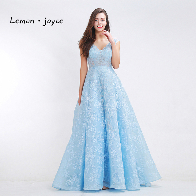 72c5fc404d32 Light Blue Prom Dresses for women 2019 Fantasy V-neck Sleeveless Formal  Lace Backless A-line Party Evening Dress Plus Size