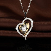Everoyal Trendy Women 925 Sterling Silver Necklace Jewelry New Fashion Crystal Heart Gold Pendant Necklace For Girls Accessories everoyal trendy crystal ocean pendant necklace girls accessories female fashion 925 sterling silver necklace for women jewelry