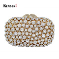 Wedding Ceremony Clutch Bag Gold Crystal Banquet Purse Nuptial Evening Bag Bling Rhinestone Party Bag S08383