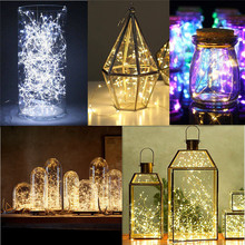 2M 20 LED Copper Wire Fairy Garland Lamp LED String Lights Christmas Wedding Home Party Decoration Powered By CR2032 Battery cheap Holiday 6-10m None ROHS Plastic LED Bulbs Wedge 1 year 20-50 head living room 2M 20LED LED Fairy string light Multi Green