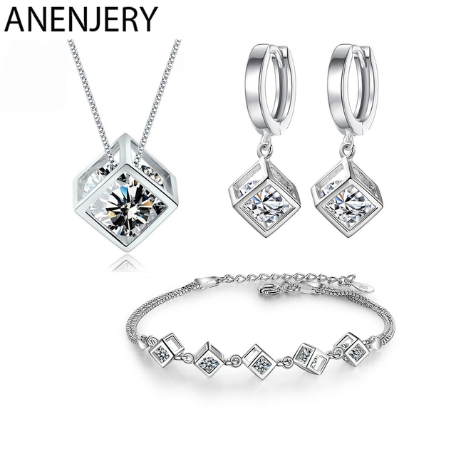 ANENJERY 5 Style 925 Sterling Silver Jewelry Sets Zircon Square Cube Necklace+Earrings+Bracelet For Women Gift 1