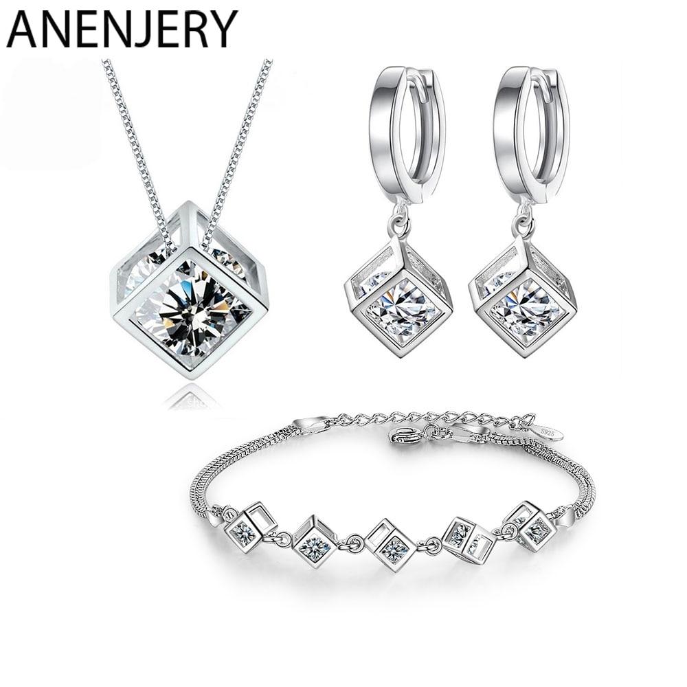 ANENJERY-Conjuntos de joyas de circonita cuadrado para mujer, 5 estilos, collar, pendientes, pulsera de plata de ley 925