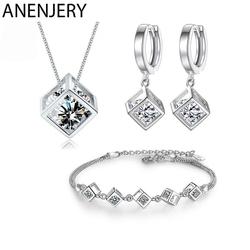 ANENJERY 5 Style 925 Sterling Silver Jewelry Sets Zircon Square Cube Necklace+Earrings+Bracelet For Women Gift