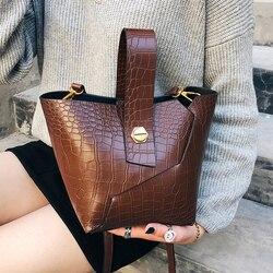 2018 nova qualidade de couro do plutônio das mulheres designer bolsa jacaré balde saco ombro mensageiro