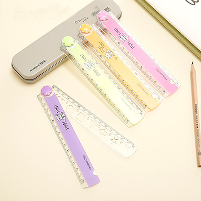 30CM New Cute Kawaii Study Time Color Folding Ruler Multifunction DIY Drawing Rulers For Kids Students Office School Stationery(China)