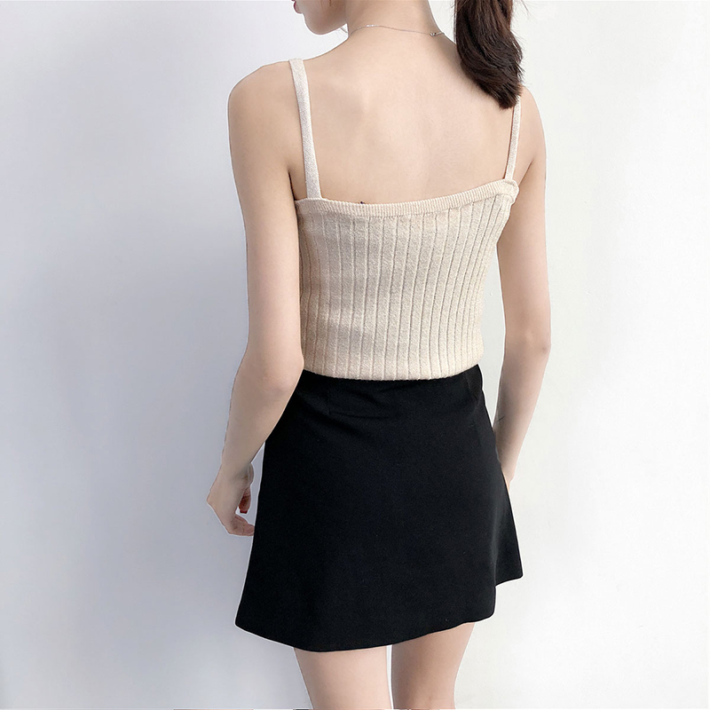 Candy Color Basic Crop Top 90s Girls Frill Tank Top Women Casual Sleeveless Black White Cropped Tees Female Tops 2018 Camis