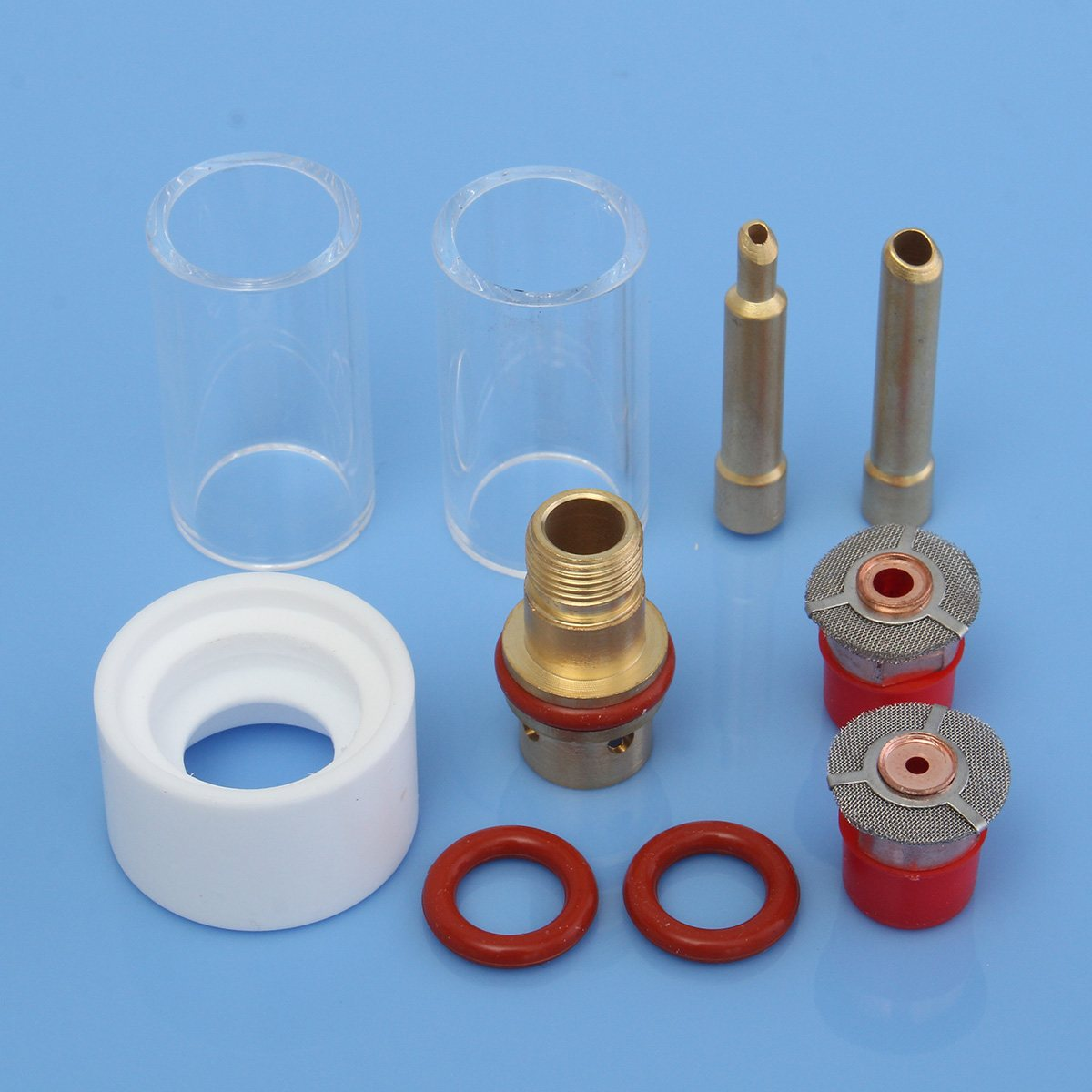 New 10Pcs 1.6mm 3.2mm TIG Welding Torch Collet Body Glass Pyrex Cup Gas Lens Insulator Kit Accessories for WP-17/18/26 Series