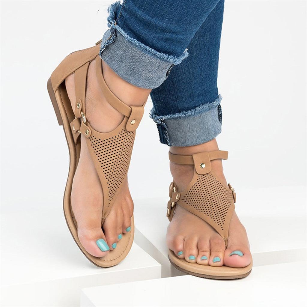 2019 Frauen Flache Sandalen Aushöhlen Strand Schuhe Sommer Gladiator Sandalen Frauen Casual Zipper Flache Sandalen Schuhe Top Wassermelonen