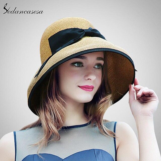 da2e1d563d618a 2019 New Summer Wide Brim Beach Women Sun Straw Hat Elegant Cap For Women  UV Protection Black Bow Straw Hats Girls Hot SW129001