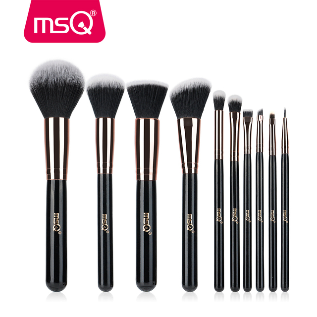 MSQ 10pcs Rose Gold/Balck Professional Makeup Brush Set Powder Foundation Concealer Cheek Shader Make Up Tools Kit