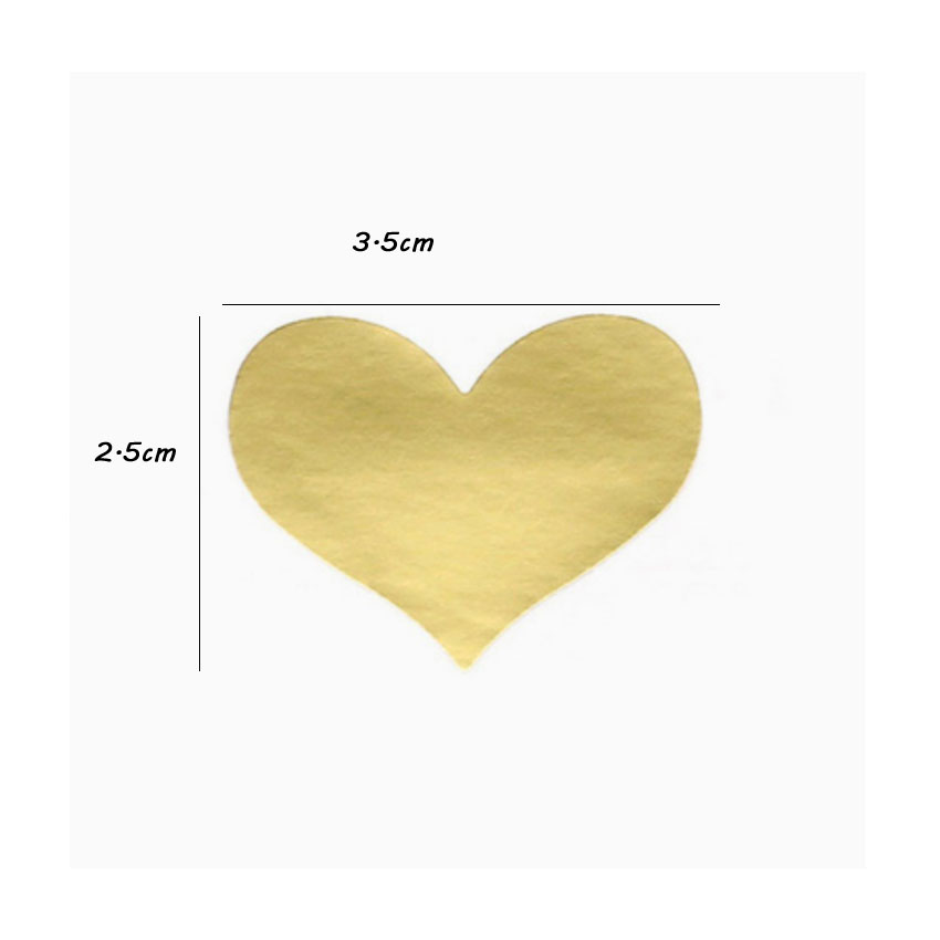 Купить с кэшбэком 1200pcs/lot New Golden Heart  Gold Handmade Cake sealing sticker kraft paper DIY Multifunction Seal Sticker Gift Sticker Label