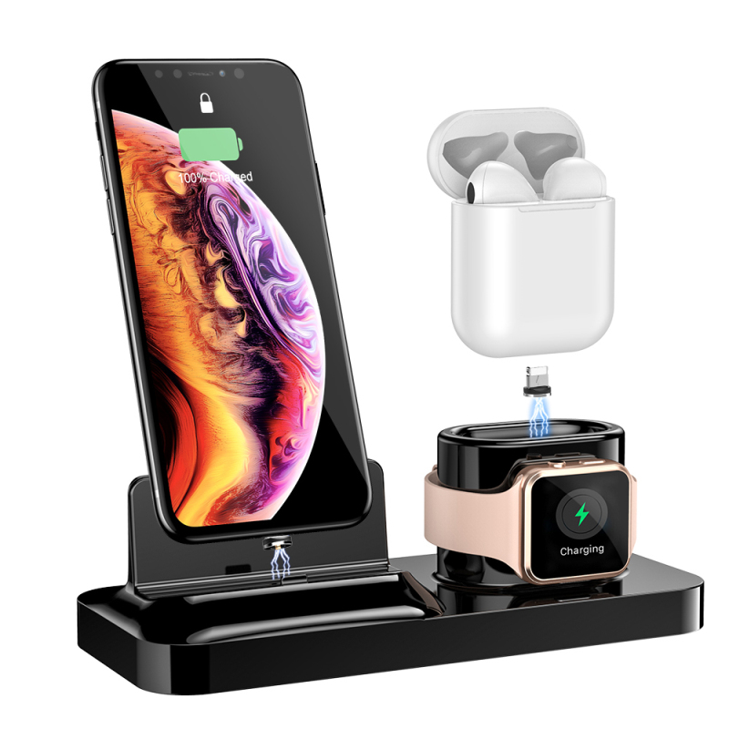 Magnetic Phone Charger 3 in 1 Charging Holder for iPhone 8 X XR XS For AirPods Watch 2 3 4 Wireless Chargers Station Smartphone