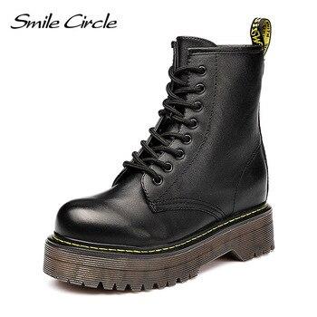 Glimlach Cirkel Size36-41 Chunky Motorlaarzen Voor Vrouwen Herfst 2018 Fashion Ronde Neus Lace-up Combat Martin Laarzen Dames schoenen