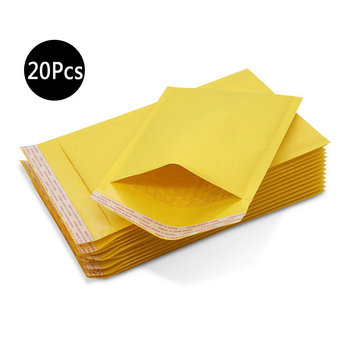 DELVTCH 20Pcs Mailing Bags Window Envelopes Bag Moistureproof High Quality Kraft Paper Seal Yellow Stationary