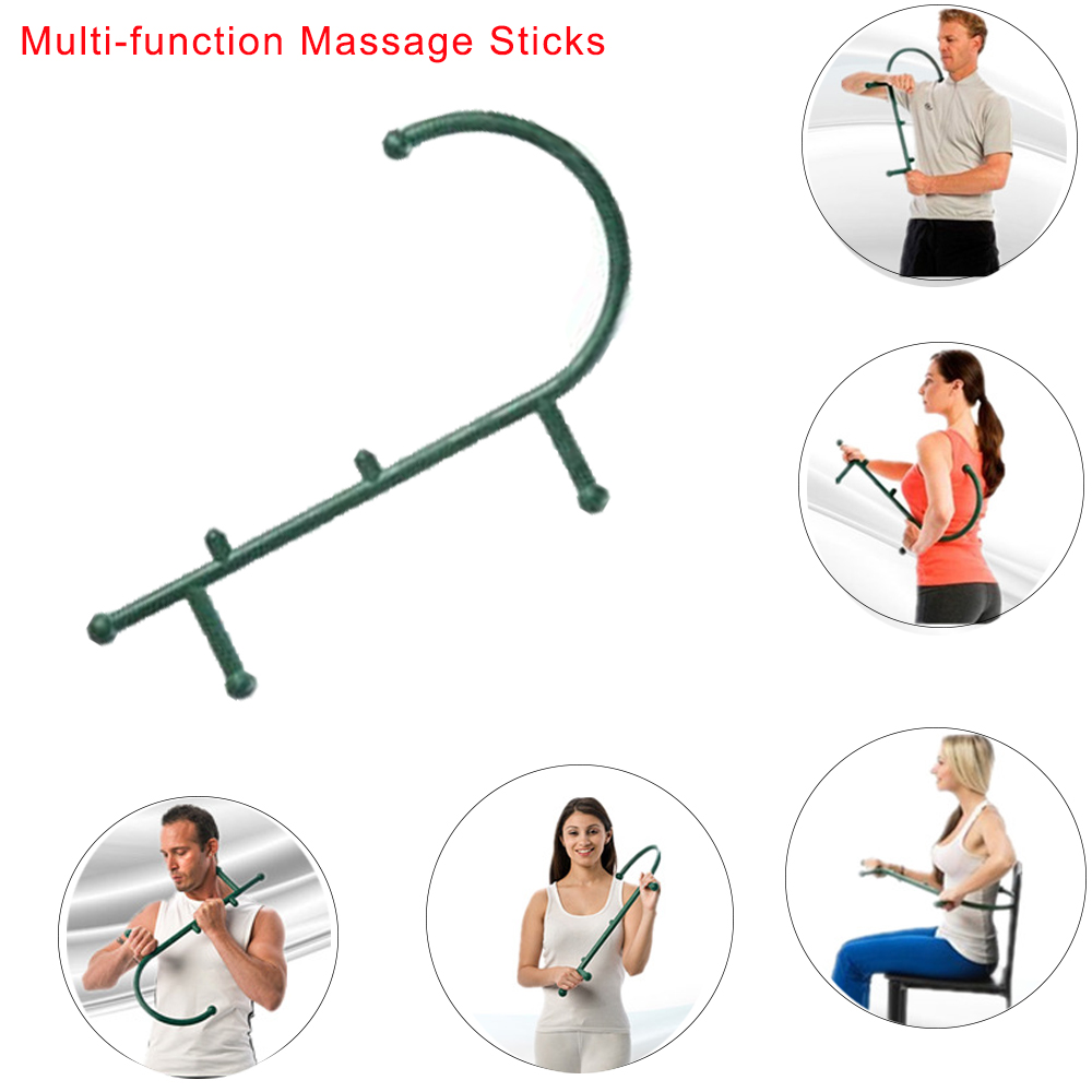 Full Body Massage Cane Back Hook Massager Neck Self Muscle Pressure Stick Tool Manuel Trigger Point Original Point Massage Rod handheld electric head neck lumbar back live dolphins massager acupuncture point massage stick am45