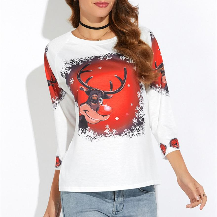 Fashion Creative Women Christmas Elk Printed Shirt Casual Blouse Loose Tops Shirt gifts f80