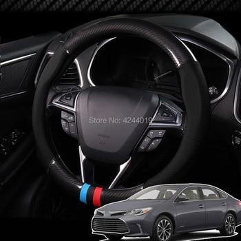 For Hyundai Tucson Diameter 38CM Steering Wheel Cover Anti-Slip Carbon Fiber Top Leather Sport Style car accessories