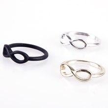 Anéis de moda para as mulheres punk rock simples metal infinito infinito sinal bowknot arco dedo anel de casamento #42764