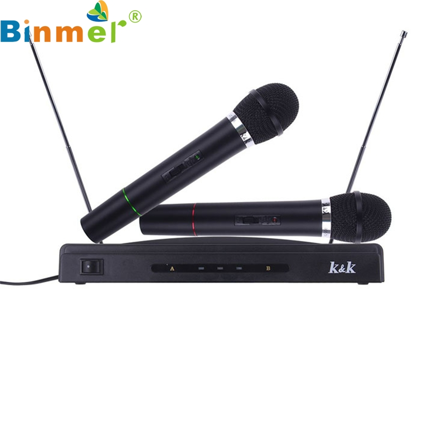 professional wireless microphone system dual handheld 2 x mic cordless receiver drop shipping. Black Bedroom Furniture Sets. Home Design Ideas
