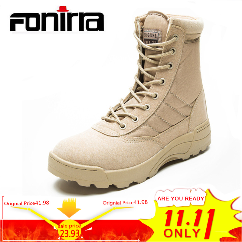 FONIRRA Fashion Ankle Men Boots Men Work Outdoor Climbing Shoes High Top Casual Shoes Army Boots Bige Size 37 46 For Men 729