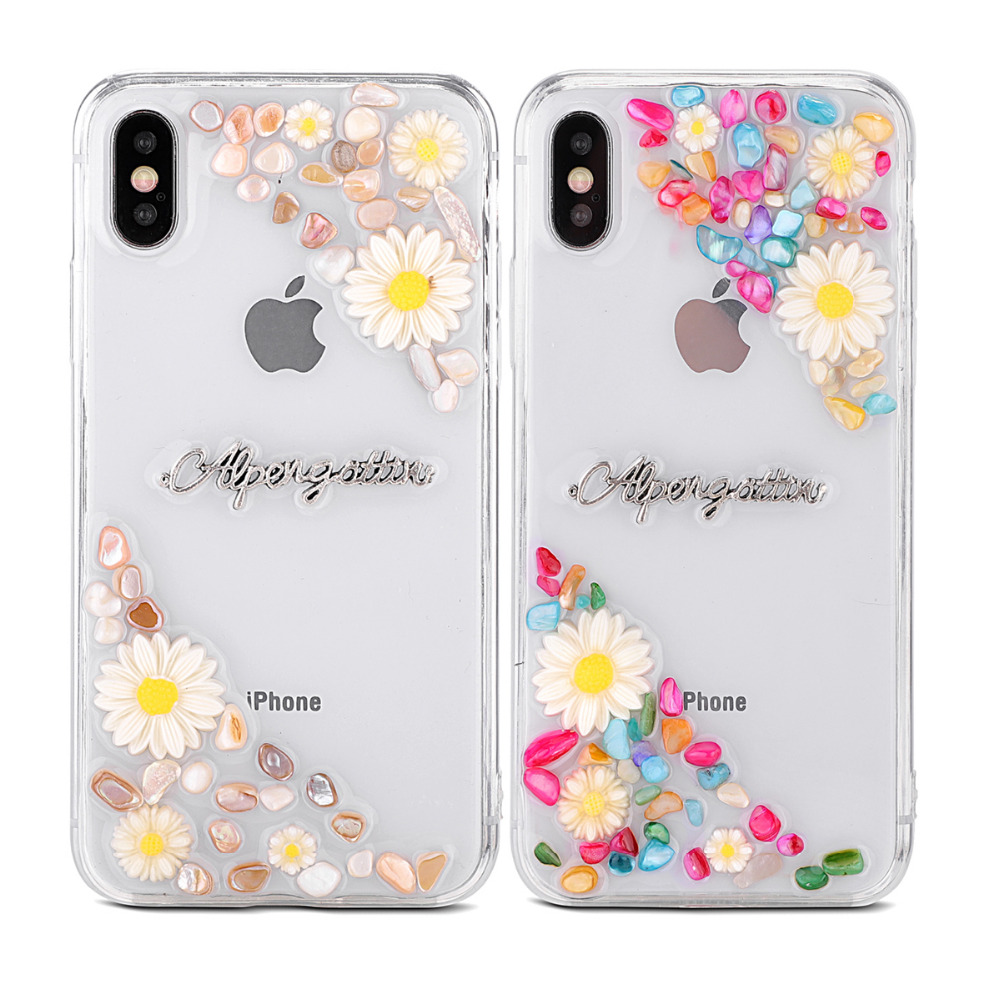 Transparent TPU Phone Case Fashion Cute Daisy Colorful Stone Phone Shell Letters Phone Case For