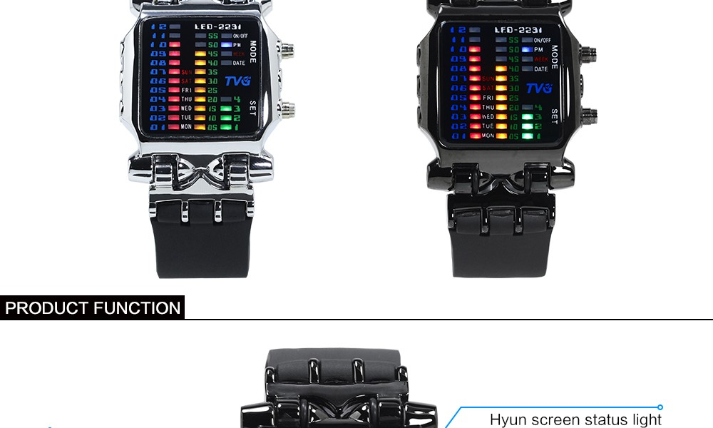 Luxury Brand TVG Watches Men Fashion Rubber Strap LED Digital Watch Men Waterproof Sports Military Watches Relogios Masculino 3