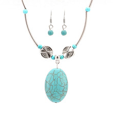 Turquoise Necklace & Earring Set Fashion Beads Dangle Earrings Long Statemet Necklace  for Women Vintage Find Jewelry Set 2016
