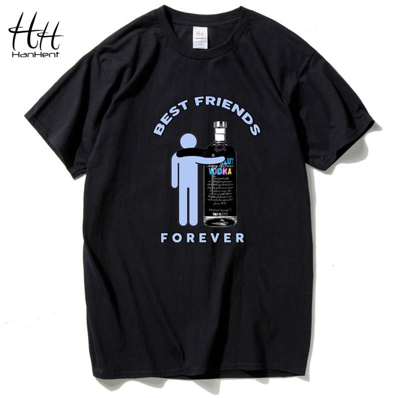 HanHent Russian Vodka Drinking Wine Men's Summer   T  -  shirts   best friends forever Print   T     Shirt   Cotton Short Sleeve Hip Hop   Shirt