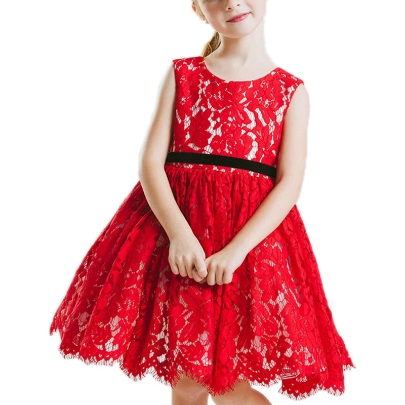 Pageant Dresses for Girls Glitz Red A-Line O-Neck Formal Vestidos De Comunion Gowns Lace Mother Daughter Dresses 2-12 Years Old