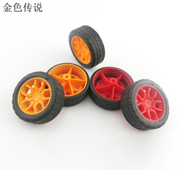 2Pcs 2*30mm Red / Yellow Rubber Fine Texture Wheel Small Wheels DIY Toy Accessory for Car F17665/6 image