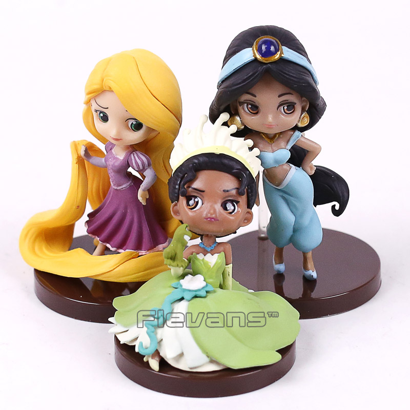 Q Posket Characters Mini Princess Dolls Tangled Rapunzel Jasmine Tiana PVC Figures Toys Gifts for Girls 3pcs/set 6~8cm