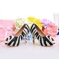 New Fish Mouth Black And White Striped Zebra High Heel Waterproof Table Female Summer Fashion Shoes, Crystal Shoes Wedding Dress