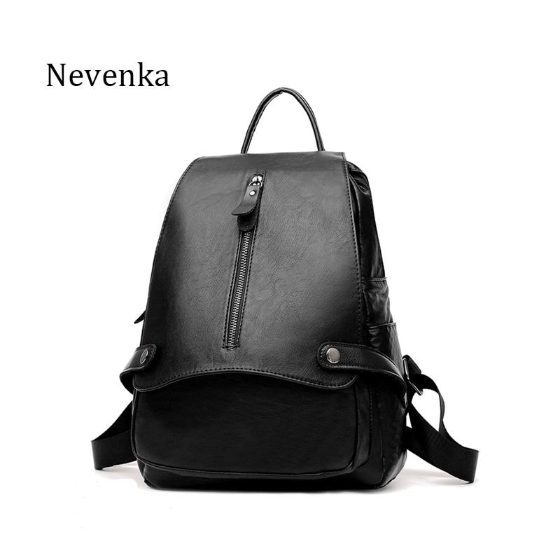 ФОТО Nevenka New Arrival Fashion Women Backpack PU Leather School Bag Vogue Backpacks Travel Preppy Style Backpack Softback