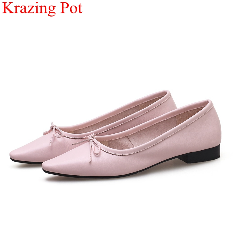 superstar slip on large size low heels cow leather women pumps elegant shallow office lady red butterfly-knot dance shoes L96