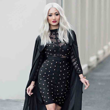 New Winter Celebrity Party Dress Women Knee Length Bodycon Dresses Sexy Mesh Long Sleeve Beaded Bandage Dresses