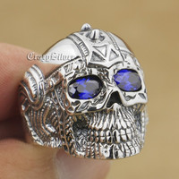 LINSION Purple CZ Eyes 925 Sterling Silver Gothic Tattoo Skull Mens Boys Biker Rocker Punk Ring