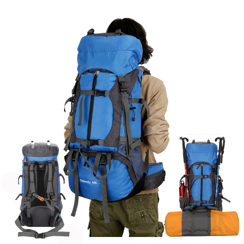 60L Outdoor Sport Backpack Camping Hiking Backpacks Mountaineering Travel Bag with Backpack Waterproof Cover Reflective Strip