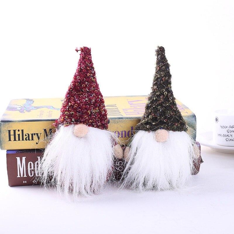 Hot Mini fait à la main suédois Tomte noël père noël ornements arbre de noël en peluche Figurines décor de bureau vacances cadeau