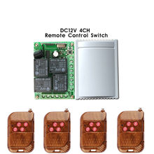 433 Mhz Wireless Remote Control Switch DC 12V 4CH relay 1527 Learning code Receiver Module and 4pcs 433Mhz RF Remote Transmitter